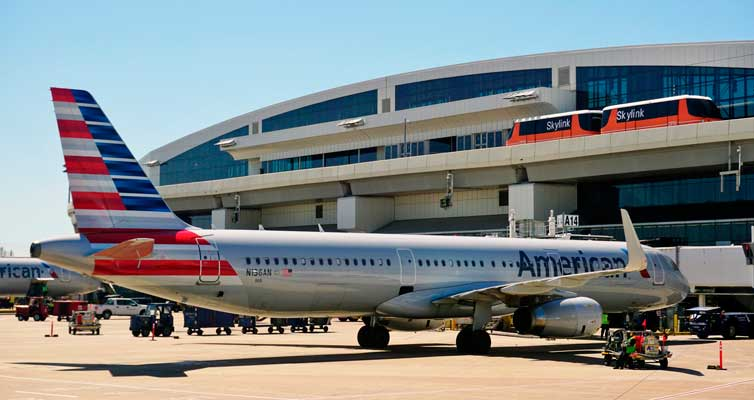 Dallas Fort Worth Airport is a hub for American Airlines.